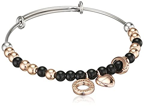 Emozioni Rose Gold Plated and Black Semi-Precious Stones Stainless Steel