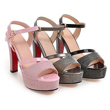 LvYuan Da donna-Sandali-Formale Casual Serata e festa-Con cinghia Club Shoes-Quadrato-Lustrini Finta pelle-Nero Rosa Grigio Black