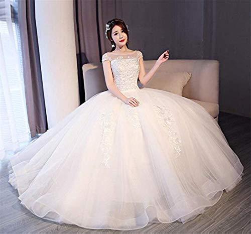 Beautifui-bride abito da sposa da donna, abito da sposa con spalline in pizzo e abito da principessa/xl