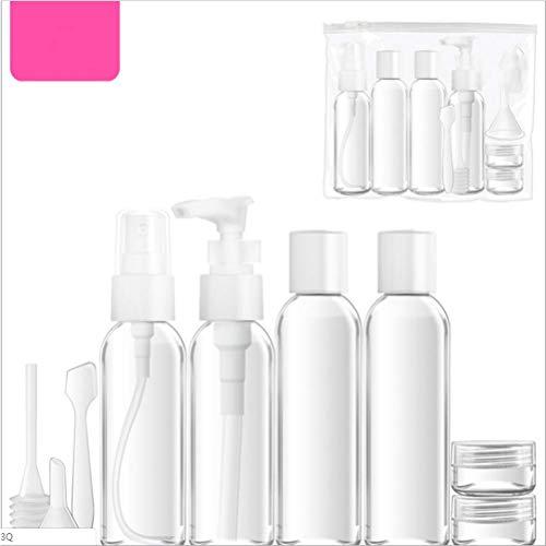 ZKX Reiseflaschenbehälter, 10-teiliges Set (mit Aufbewahrungstasche), Transparente Plastikreiseflasche, Lufttransparenter Flüssigkeitsbehälter,