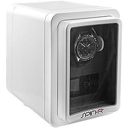 Uhrenbeweger SpinR White Holz Klavierlack - Uhrenbox in weiß für eine Uhr + Adapter - Uhrenkasten mit Uhrenbeweger für Automatikuhren