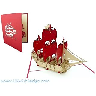 Pop Up 3D Greeting Cards Good Luck Cards Birthday Lin Ship Travel Sailing Boat Pirate Ship with Red Sails