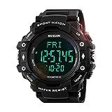 LoveOlvido ST02 Herren Outdoor Sport Smartwatch Herzfrequenz Tracker Smart Watch Round Dial Rubber Strap Digital Wristwatches Passometer