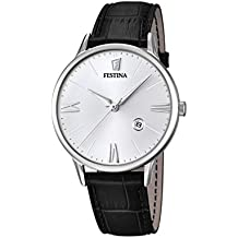 Festina F16824/1 orologio al quarzo da uomo, quadrante bianco, display analogico e cinturino in pelle nero