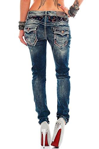 Cipo & Baxx Damen Jeans Designer Style mit bunten Aufschirften Blau