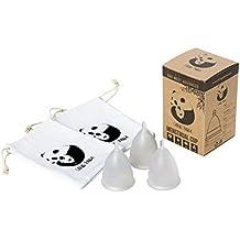 Caring Panda - Copa menstrual reutilizable Set de 3 copas menstruales de silicona de talla grande (A) con 2 bolsas de almacenamiento de algodón