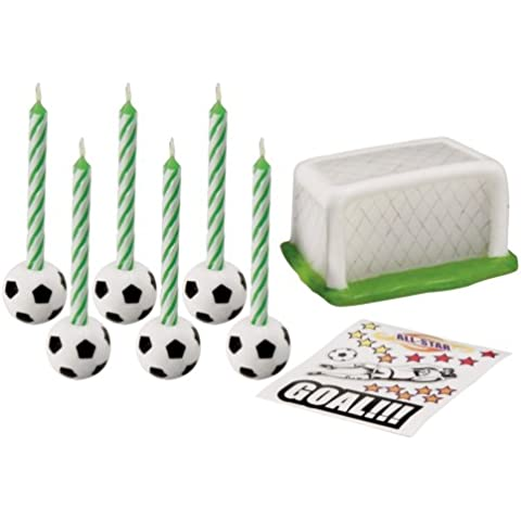 Wilton 2811-8421 - Set de velas para pastel, diseño fútbol, 8 piezas