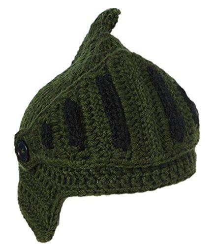 EJY Neuheit römischen Ritter Helm Caps Handgemachte Knit warme Winter-Maske Mützen Kid Partei-Schablone Mützen (große für Papa, grün)