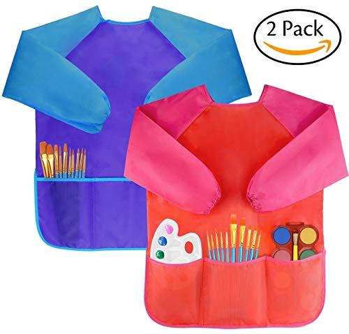 Amaza 2pcs grembiule da pittura scuola grembiulino maniche lunghe bambini 2-8 anni (blu & rosso)
