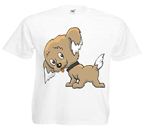 Motiv Fun T-Shirt Hinterseitenansicht( sicht) des jungen Hund Cartoon Spass Film Top Cartoon Spass Film To Weiß
