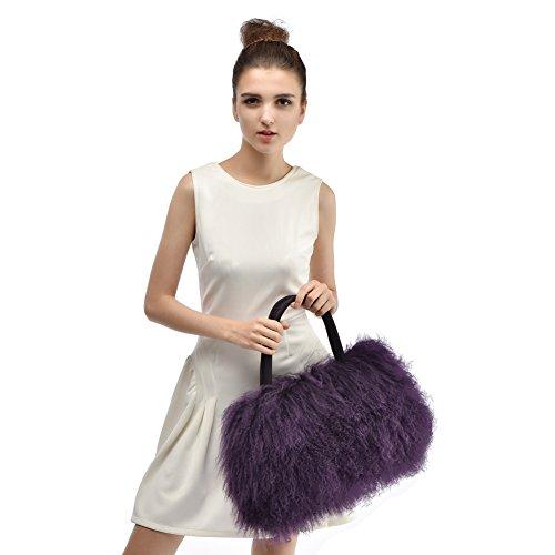 Handtasche aus Fell - Damen Mode Winter Umhängetasche aus Pelz HoBo Bag Lila