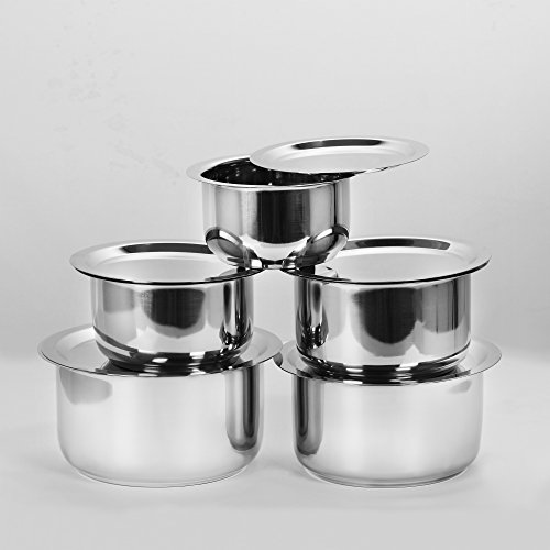 Sumeet 5 Pcs Stainless Steel Induction & Gas Stove Friendly Container Set / Tope / Cookware Set With Lids (Tope No. 10 - 1L with lid, Tope No. 11 - 1.4L with lid, Tope No. 12 - 1.8L with lid, Tope No.13 - 2.3L with lid, Tope No. 14 - 3L with lid)  available at amazon for Rs.1459