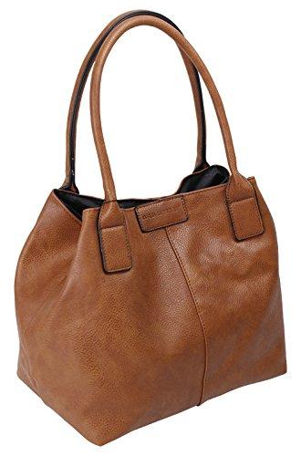 Damen Shopper Elegant Handtasche Design Schultertasche Einkauf Freizeit Arbeit in 5 Farben (3453) (Cognac) (Handtasche Shopper Medium)