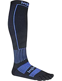 Injinji Unisex Snow Midweight Over-The-Calf Socks, Large, Black