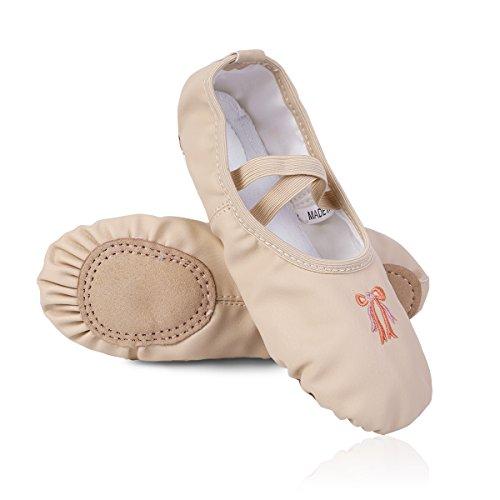 iEFiEL Ballettschuhe Kinder Ballettschläppchen Mädchen Leder Ballett Schuhe Turnschuhe Schläppchen