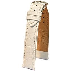 Hirsch Adlige zu tragen, L, Lederband, Weiß, 18 mm, mit Schnalle