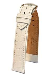 Hirsch Aristocrat L, Leather Watch Strap, White, 20mm, Buckle