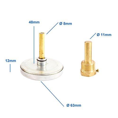 Bimetall Analog G 1/2 ' Gewinde 120 °C Grad Rot Thermometer für Heizung – Lüftung – Sanitär – Wasser . Made in Germany, Farbe / Gehäuse:rot / Kunststoffgehäuse - 3