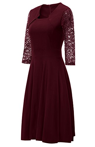Gigileer Damen Kleider 3/4 Arm mit Spitzen Knielang Abendkleid Minikleid festlich Cocktail Party Burgundy M - 3