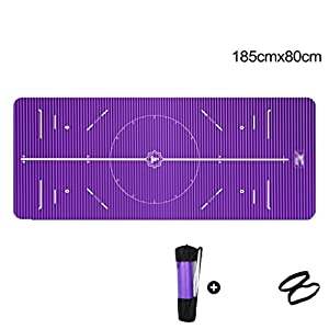 YJD Große Gepolsterte Übung Yoga-Matte mit Tragegriffen – 10mm Hohe Dichte 1350g Dicke NBR-Matten für Gymnastik Pilates Übung Fitness Blau/Pink/Purple GHJ