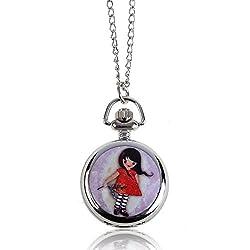 Rrimin Chic Little Girl Classic Fashion Quartz Pocket Watch Pendant Necklace Gift1