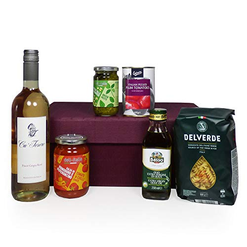 Taste of Italy - Italian Wine & Gourmet Treats Gift Box Hamper Includes 75cl Ca Tesore Rose Wine - Gift ideas for Christmas, Valentines, Mother's Day, Birthday, Anniversary, Business, Corporate and Congratulations Presents