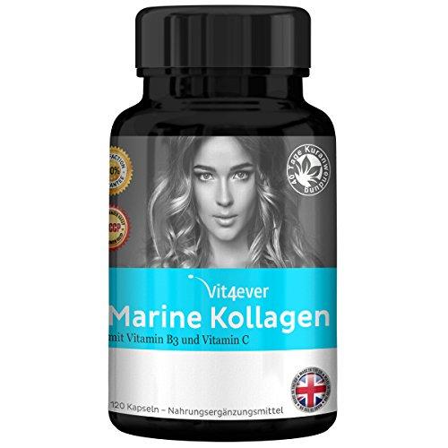 Kollagen 400mg mit Vitamin C und Mineralien - 120 Kapseln - Anti-Aging - Haut - Marine Collagen