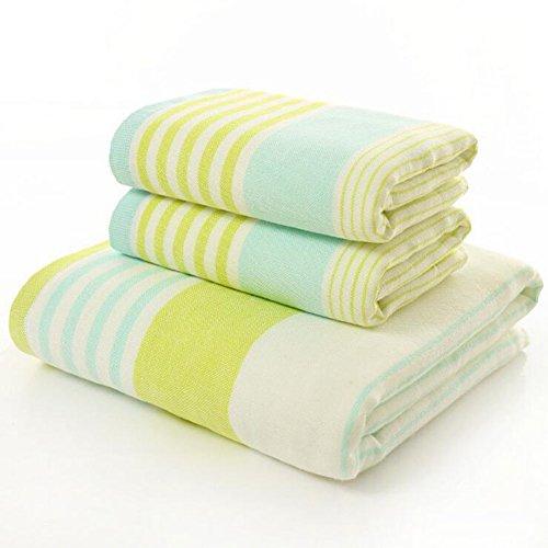 Serviettes de bain Serviette de bain en coton double gaze douce de haute qualité en trois parties Serviettes de bain de ménage serviettes de bain de l'hôtel cinq étoiles (serviettes, serviettes de bain) Serviette de bain maison et hôtel ( Color : Green )