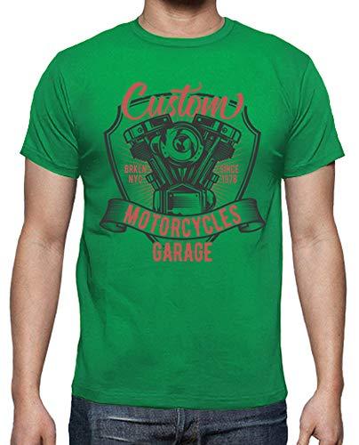 tostadora - T-Shirt Moto Rcycles Ga Rage - Uomo Verde Prato M