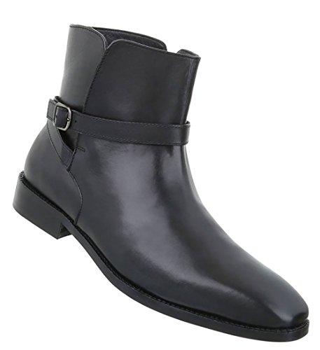 Herren Schuhe Boots Used Optik Leder Schwarz