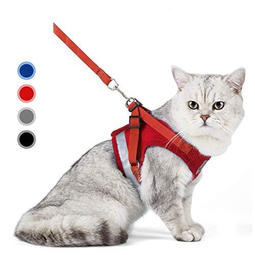Supet Katzengeschirr, Geschirr für Katzen Ausbruchsicher Welpengeschirr Soft Kaninchengarnitur Katzenweste mit Leine für Kitten Hunde Chihuahua