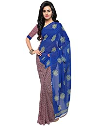Kashvi Sarees Women's Faux Georgette Printed Saree With Blouse Piece - 1199_2_Multicolour_Free Size
