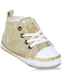 Polo Ralph Lauren Culla dorata stringata in camoscio glitterato, con lacci bianchi, Neonata, Bambina