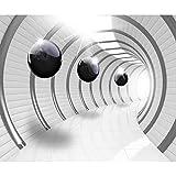 decomonkey Fototapete 3D Abstrakt schwarz weiß Tunnel Kugel 350x256 cm XL Design Tapete Fototapeten Vlies Tapeten Wandtapete Vliestapete Moderne Wandbild Wand Schlafzimmer Wohnzimmer Kugeln