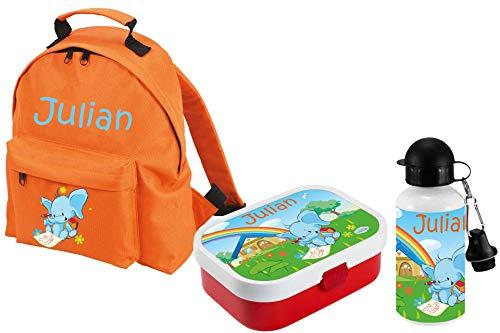 Mein Zwergenland Set 3 Kindergartenrucksack Classic und Brotdose Mepal mit Bento Box und Gabel + Trinkflasche mit Name Elefant, 3-teilig, Orange