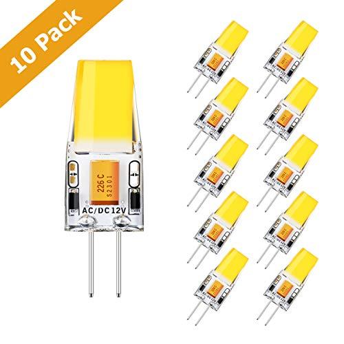 KINGSO 10pack Ampoule LED G4 3W Économie d'énergie Équivalent 35W Lampe Halogène/Incandescente Non-Dimmable AC/DC 12V 350LM 360° Angle de Faisceau Ampoules Maïs 2700K Blanc Chaud