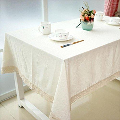 SADWF Leinen Baumwolle Tischdecke staubdicht waschbar Casual Essen Notwendigkeiten rechteckig Tischtuch Natürliche einfarbige Farbe 140 * 200 cm, 140 * 250cm (Rot Karierten Tischtuch)