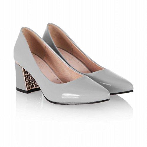 Mee Shoes Damen süß chunky heels Lackleder Geschlossen Pumps Grau