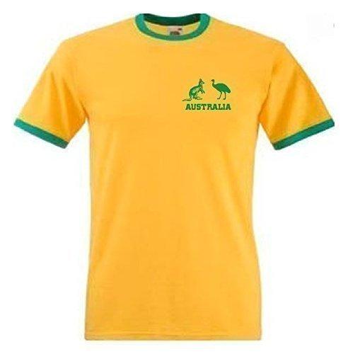 Australien National Rugby / Cricket / Fußball / Fußball / Socceroos Team T-Shirt Trikot - Gelb/Grün, Gelb/Green, L (Baumwoll-t-shirt Rugby)