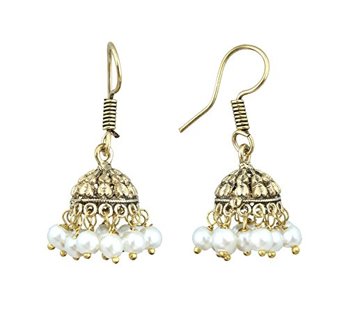 Waama Jewels Gold Plated Brass Jhumka/Jhumki Casting Earring for women and young girls special birthday college office wear with pearl color (White)  available at amazon for Rs.89