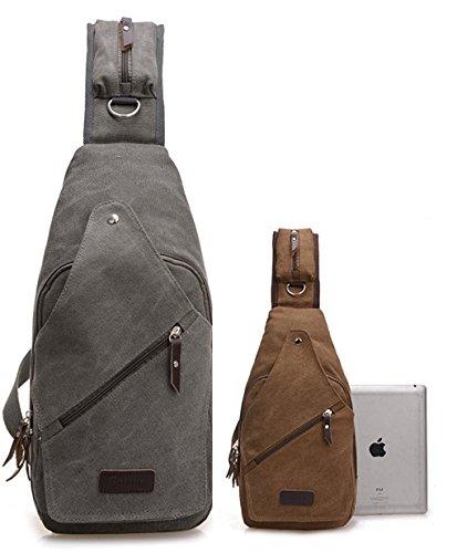 lemongirl Sling Brust Rucksack für Herren Damen, Unisex Schulter Crossbody Tasche für Reisen Wandern Camping Radfahren Mini Adult Handtasche Rucksack One Size grau (Hippie-windel-taschen)