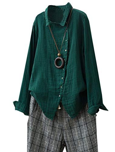Matchlife - camicia - tinta unita - collo alla coreana - manica lunga - donna verde 36/40 eu (medium)
