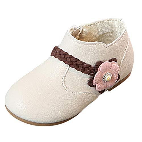 Chaussures Bébé Binggong Enfants Kid Filles Tissage Fleur Princesse Zip Étudiant Bottes Chaussures Décontractées Noir, Rose, Beige Taille: 21-30