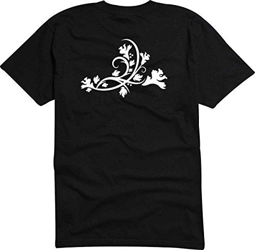 T-Shirt D424 T-Shirt Herren schwarz mit farbigem Brustaufdruck - Tribal Natur / Ranke mit schönen Blättern Mehrfarbig