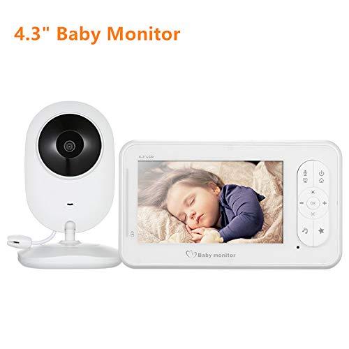 DZSF 4,3 Zoll Wireless Video Baby Monitor 2 Way Talk Baby Monitor mit Kamera Unterstützung 4 Kameras VOX-Modus Temperaturüberwachung Farb-dome-video