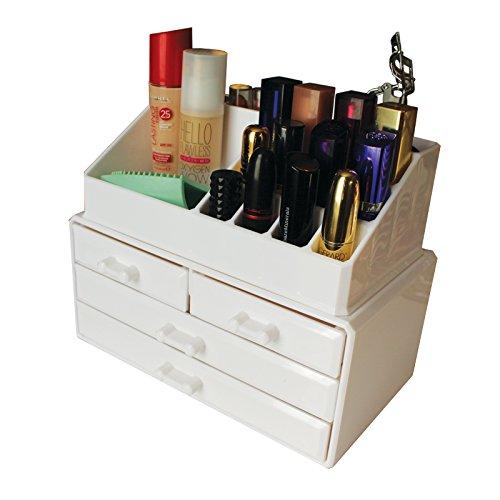 Weiße Acryl Beauty Make-up Kosmetik Aufbewahrungsbox mit 20 Fächern von Kurtzy - 12...