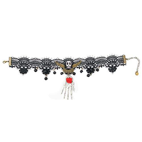 Vampir Trikot Kostüm - LOLIANNI Frauen Halloween persönlichkeit schwarzer Spitze Halskette Damen Gothic anhänger Choker Halskette Vampire Kette Dress up
