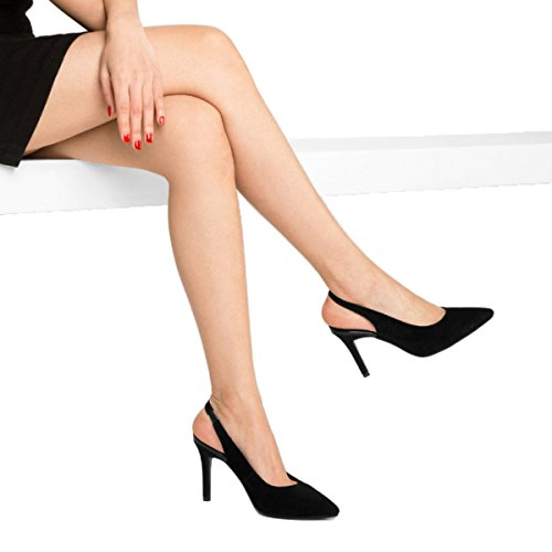 Damen Scrub Schöne Stiletto High Heels Sommer Sexy Sandalen Party Braut Pumps Damen Klassische Spitz Schuhe,Black-EU35=225 (Fuß-scrub Block)