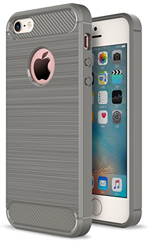 Oceanhome Schutzhülle apple iPhone 5/5S/ES Hülle , Stoßfest TPU Silikon Schutz hülle Rutschfeste Schlanke Handy hülle für apple iPhone 5/5S/ES Bumper Case , Carbon Gebürstet für iPhone 5/5S/ES Case Co Grau