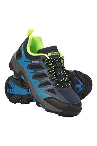 Mountain Warehouse Softshell Schuhe für Kinder - Strapazierfähige Wanderschuhe, atmungsaktive Trekkingschuhe Kinderschuhe mit Netzfutter, Laufschuhe - Für Reisen Blau 32 EU Mountain Schuhe